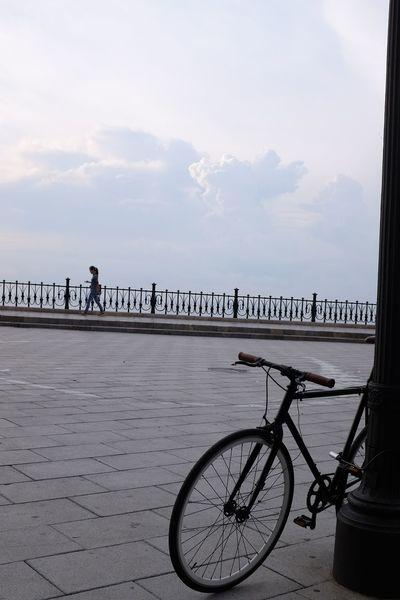 Bicycle Beach Sea Sky Cloud - Sky Outdoors Water Day No People City Bird Nature Woman Walking