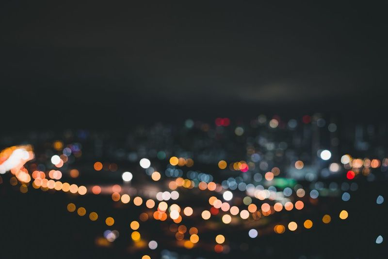 Close-up of defocused lights