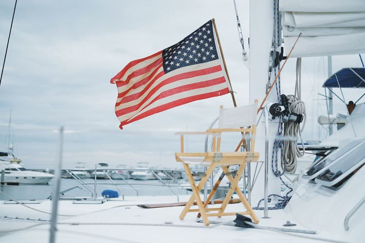 Flag Winter No People Outdoors Yachting Nature Day Yacht Travel Sky Harbor Sailboat Water American Flag American