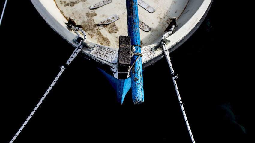 Airplane Blue Close-up Day Focus On Foreground Hanging Low Angle View Metal Mode Of Transportation Moored Nature Nautical Vessel No People Outdoors Rope Sailboat Ship Transportation Travel Water