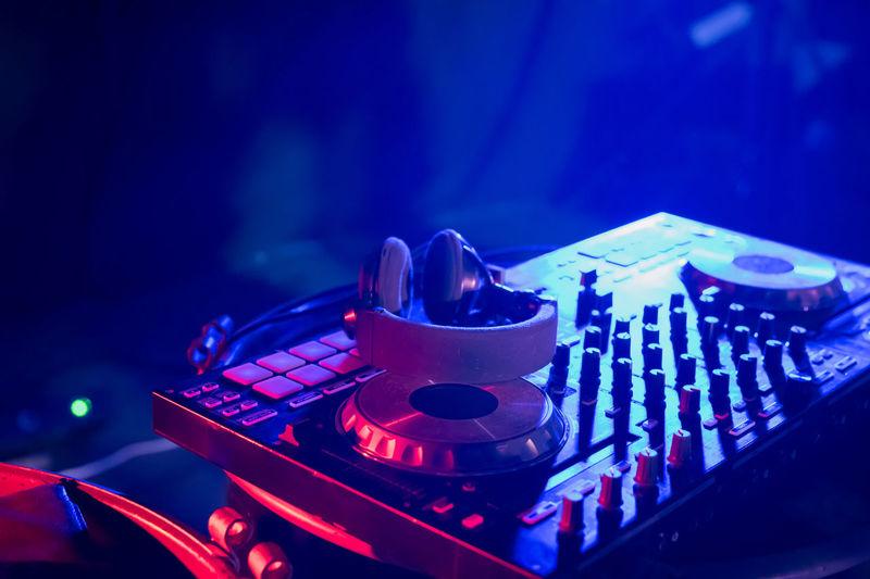 Close-Up Of Audio Equipment In Nightclub