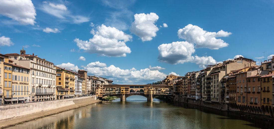 Bridge over river amidst buildings against sky in city