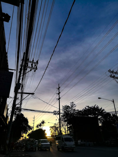 Daily morning ride Silhouette Cable Sky Power Line  Electricity  Car Cloud - Sky Telephone Line Tree Day Nature Outdoors Electricity Pylon