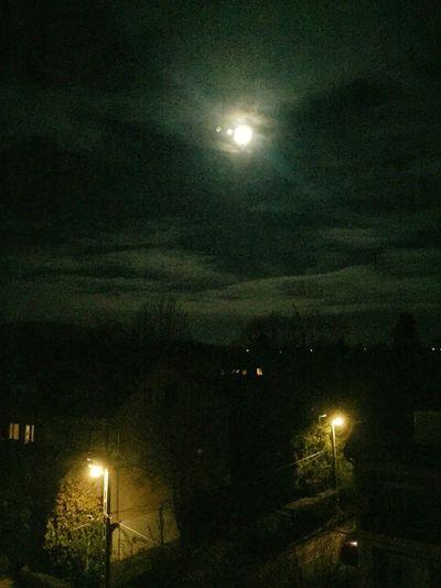 Night Moon Full Moon Moonlight Astronomy Sky Street Light