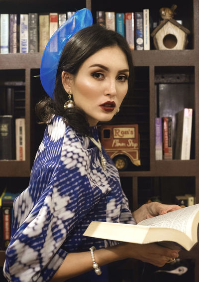 Beautiful Woman Book Bookshelf Day Education Indoors  Leisure Activity Library Lifestyles Looking At Camera One Person Portrait Real People Young Adult Young Women Youth Culture The Week On EyeEm