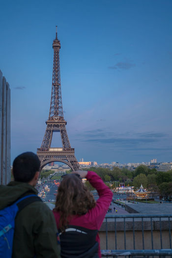 Couple Eiffel Tower France Architecture Couple - Relationship Men Night People Tourism Tower Travel Travel Destinations Women