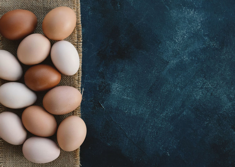 High angle view of eggs on table