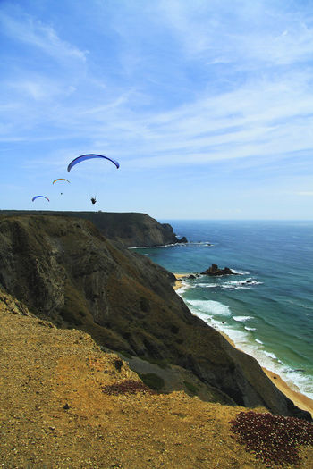 Adventure Alentejo Lovers Alentejo,Portugal Beach Beautiful Nature Beautiful Portugal Costa Vincentina, Alentejo Flying Horizon Over Water Leisure Activity Nature Outdoors Parachute Paragliding Portugal Sea Sky