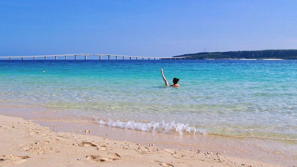 Beach Photography 🏖 Miyakojima Okinawa Japan Resort One Person Sea Beach Blue Clear Sky Vacations Swimming Twilight EyeEm Best Shots Bridge Waves, Ocean, Nature Sea And Sky Relaxing Island Dancing Happy Time 与那覇前浜ビーチ 宮古島 沖縄 海