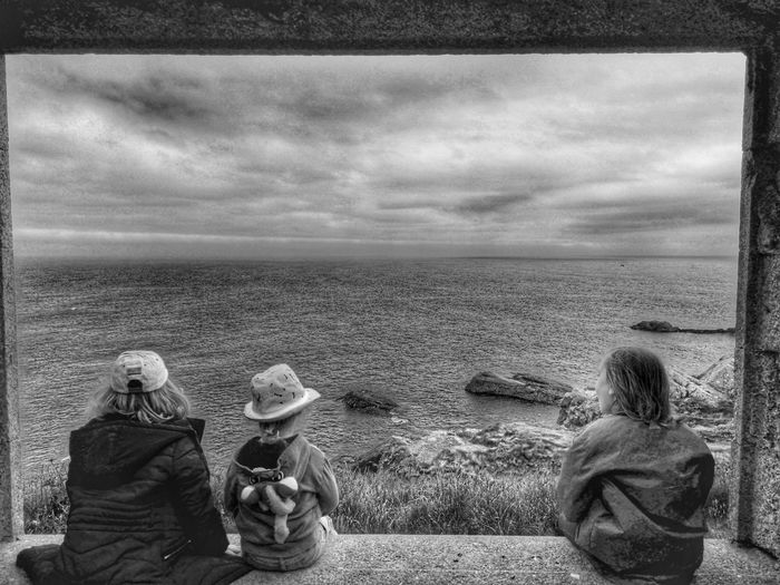siblings Scotland Landscape Nature Bay Dramatic Landscape Castle Dracula BramStoker Slains Castle Daughter Son Fatherslove The Great Outdoors - 2018 EyeEm Awards Sea Beach Water Sand Sitting Togetherness Child Rear View Boys Sky Sibling Friend Sister Brother Shore Children Coast Family With Three Children 8-9 Years Preschool Age Two Parents Female