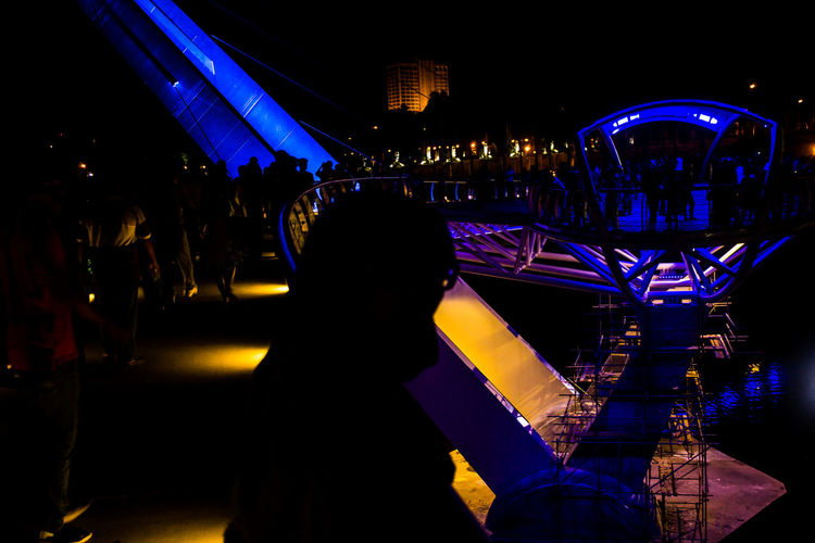 Be. Ready. Night Arts Culture And Entertainment Lighting Equipment Nightlife Love People Crowd City Bridge Sarawak Malaysia