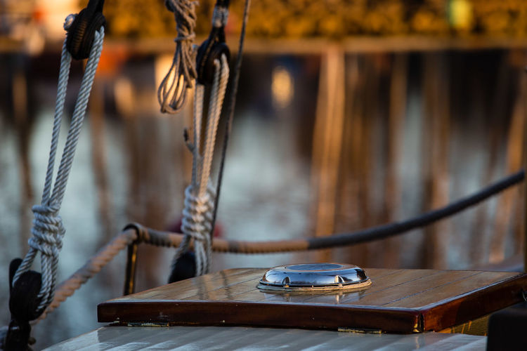 Pulley By Wood At Harbor