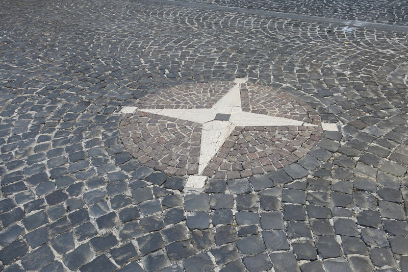 compass sign Cobblestone Compass Day Design Direction Footpath Full Frame High Angle View No People Outdoors Pattern Paving Stone Road Shape Sign Starshape Stone Street Symbol The Way Forward