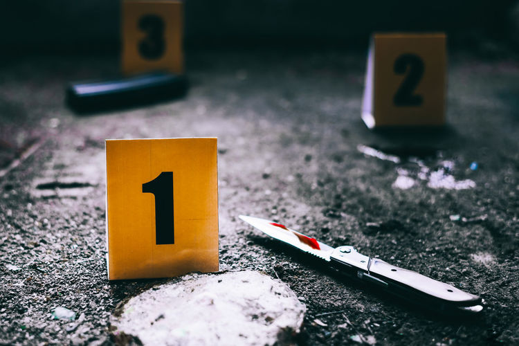 Close-up of numbers at crime scene