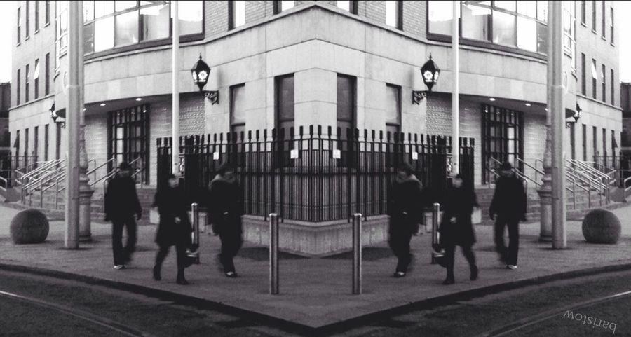 people on the streets... Randompeople Streetphotography Monochromatic Mirroreffect Reverse