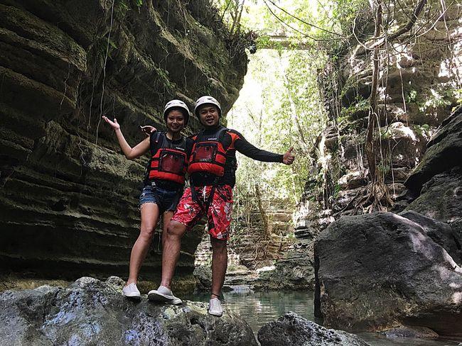 Canyoneering at Kawasan Falls in Badian,Cebu. Philippines