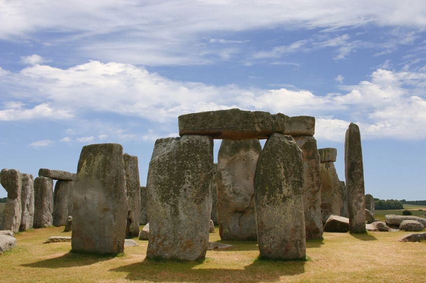 A view of the ancient stone circle Stonehenge in England Ancient Ancient Civilization Cloud - Sky Day England, UK Historical Sights History Landscape Mysterious No People Outdoors Standing Stones Stone Circle Stonehenge Tourist Attraction  Tranquility Travel Destinations