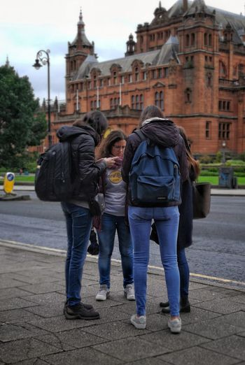 Full Length Togetherness Adult Rear View Young Women Tourism Travel Destinations Lost Streets Of Glasgow Bloodylampposts Sidewalk Real People