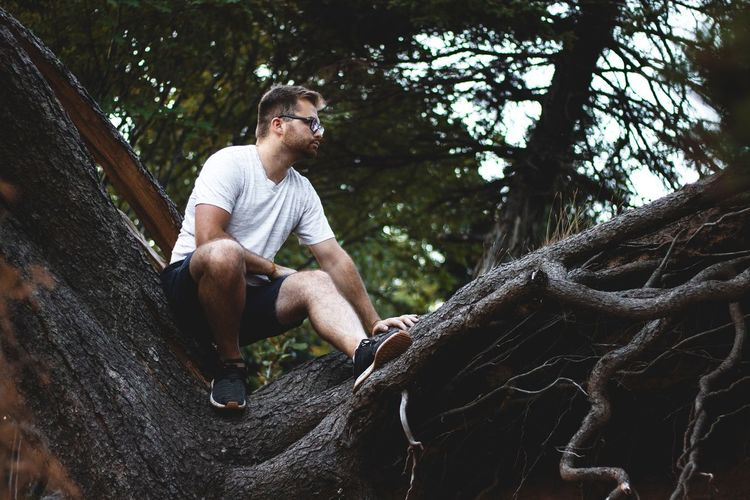 Full Length Of Young Man Sitting On Tree Trunk