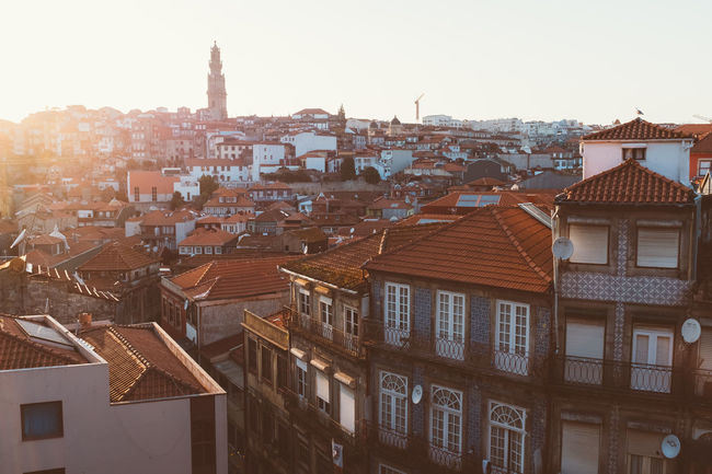Evening in Porto Portugal Old Town Streets Porto Portugal Portugal Porto Travel Apartment Architecture Building Building Exterior Built Structure City Cityscape Clear Sky Europe High Angle View House Outdoors Residential District Roof Roof Tile Row House Sky Sunlight Town TOWNSCAPE