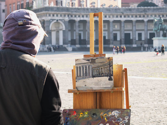 Animal Representation Architecture Art Art And Craft Building Exterior Built Structure City Life Column Creativity Culture Cultures History Human Representation Italy Lifestyles Naples Napoli Old Painting Art Piazza Plebiscito Religion Sculpture Statue