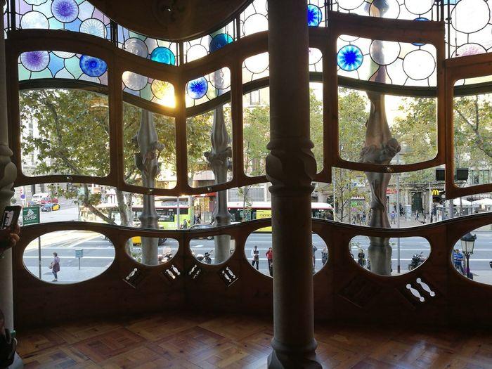 Casa Battlò Gaudì Architecture Work Barcelona, Spain #NotYourCliche Love Letter City Window Architecture Built Structure Historic Rose Window Civilization Architectural Column Hardwood Floor