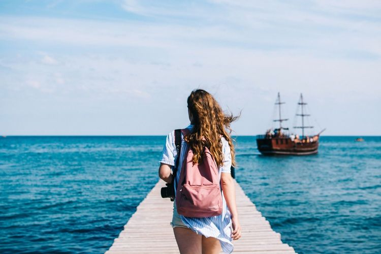 Way out Travel Photography Trip Girl Adventure Club Adventure Ship Travel Sea Water Sky Rear View Only Women Cloud - Sky Go Higher Nature Leisure Activity Women One Woman Only Horizon Over Water People Summer Young Adult Adult Vacations Nautical Vessel Day Outdoors Go Higher