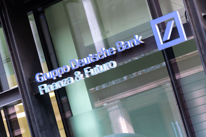 Sign outside a branch of the Deutsche Bank. It is a German global banking and financial services company with its headquarters in Frankfurt Currency Deutsche Bank Financial District  Bank Bank Branch Banking Building Exterior Exchange Finance Financial Information Sign Money No People Savings