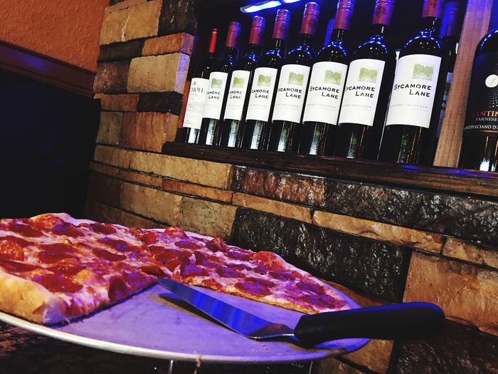 Pizza 🍕 and wine! Wine Pizza🍕 Pizza Time Food Porn Food And Drink Food Still Life Side By Side Wellbeing Baked Ready-to-eat High Angle View Close-up