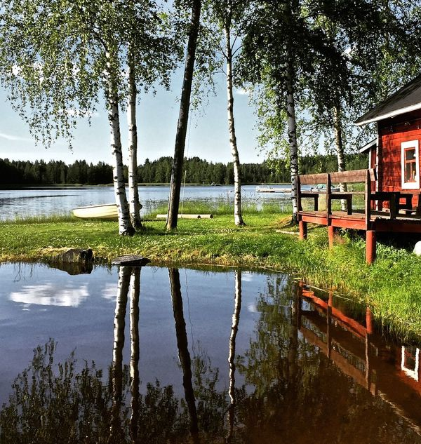 Beauty In Nature Birch Trees Day Finland Grass Green Color Growth Holiday Lake Nature No People Nordics Outdoors Reflections In The Water Sauna By The Lake Sky Summer Travel Destinations Tree Suomi100 Suomifinland100 Midsummer Midsommar Midsummer In Finland Presentation Background