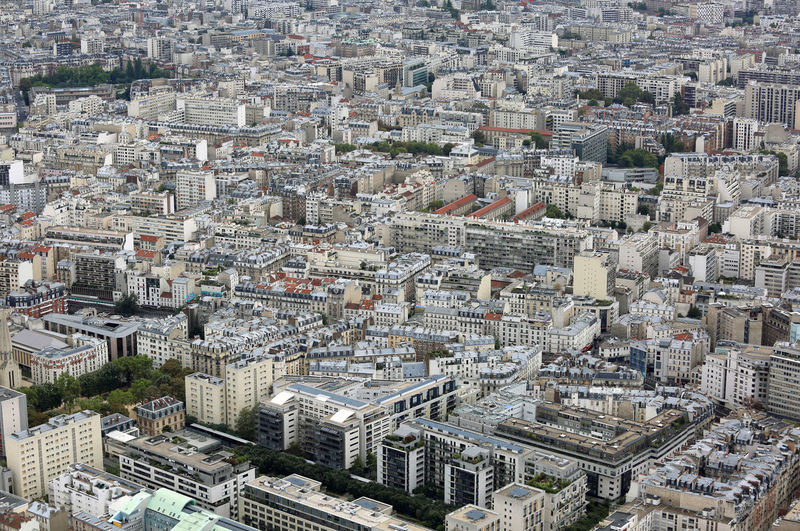 Urban panorama with houses and palaces from eiffel tower