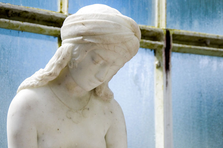 Arts Blue Botanical Gardens City Classical Condensation Cool Tones Culture Cultures Day Glasgow  Glass Green Greenhouse Má Scotland Scottish Sculpture Statue Turban White Marble Windows