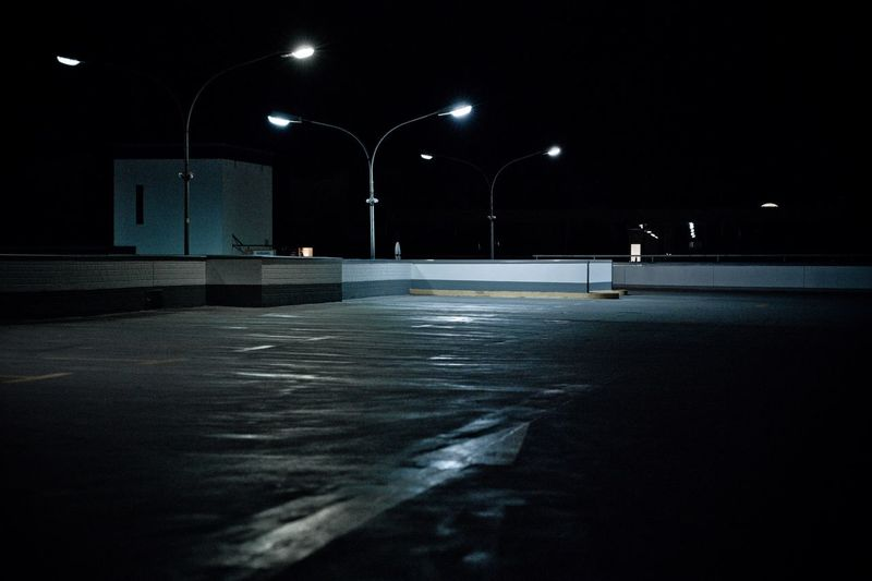 Surface level of street lights at night