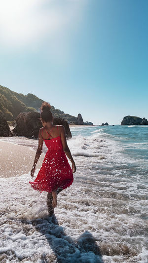 Sea Water Real People One Person Lifestyles Leisure Activity Land Sky Beach Beauty In Nature Motion Nature Young Adult Day Young Women Women Scenics - Nature Copy Space Outdoors The Traveler - 2019 EyeEm Awards The Great Outdoors - 2019 EyeEm Awards My Best Photo
