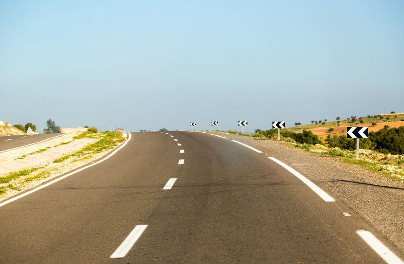 Road against clear sky