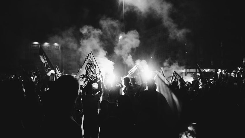 Champion Football SUPPORT Besiktas Blackandwhite Blackeagle Night Streetphotography