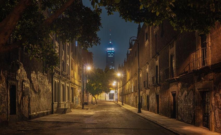 Dark abandoned street at night, mexico city
