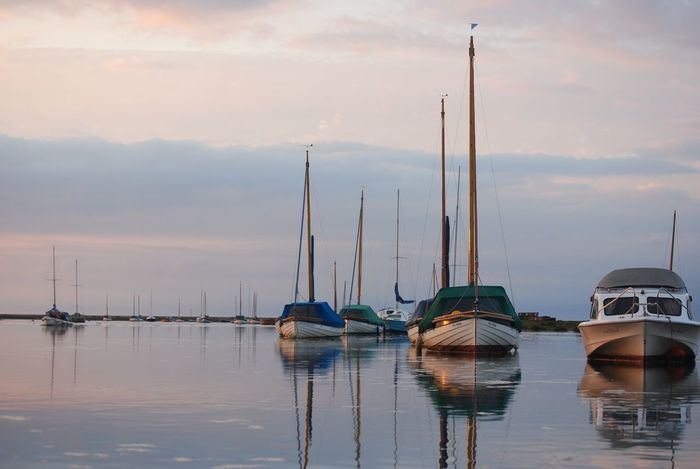 Sky Moored Mast Boat Water Outdoors Sea Sailboat Harbor Beauty In Nature Sailing Boat Tranquil Scene Reflection