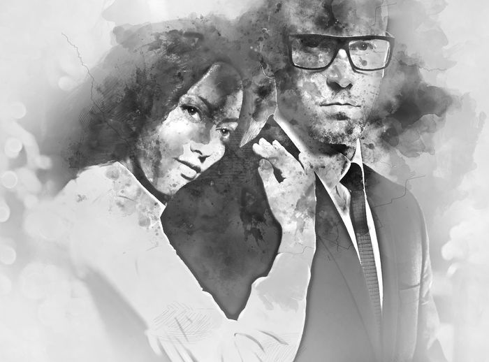 Couple in love. Beautiful brunette and handsome man hugging. Black and white. Digital watercolor painting Digital Watercolor Digital Watercolor Painting Love Watercolour Altered Black And White Businessman Couple - Relationship Digital Art Digital Illustration Digital Painting Digitally Altered Digitally Generated Digitally Generated Image Eyeglasses  Illustration Looking At Camera Man And Woman People Suit Togetherness Watercolor Watercolor Painting Well-dressed Woman And Man
