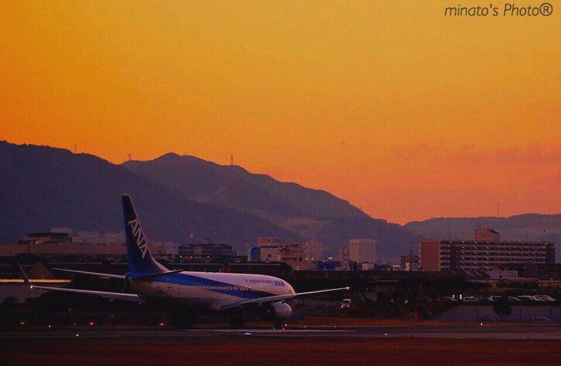 夕暮れ越しの飛行機を撮りたく2度目の伊丹。いい画が撮れる瞬間を待ちわびて Eyemphotography Eyem Gallery EyeEm EyeEm Best Shots 飛行機 千里川 大阪 EyeEm Sunset