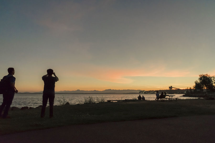 People on shore enjoying a vibrant Pacific northwest sunset. Breathtaking View Elliott Bay Friends Group Outdoors Park Pink Puget Sound Seattle Silhouetted Sky Sunset Technology Vibrant Color Viewing