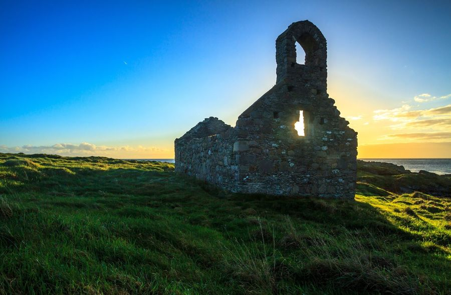 Built Structure History Grass No People Field Travel Destinations Landscape Sunrise Isle Of Man Fort Island Shades Of Winter