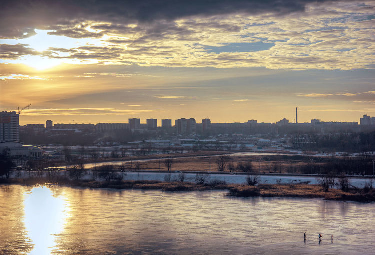Sunset Water Urban Skyline Ice Water Reflections Reflection Icereflection Belarus Winter Hockey Clouds Cityscape Lake Icelake Hotspot Sunshine