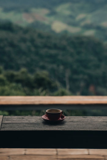 View of coffee on table