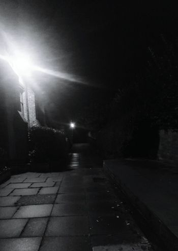 Night Illuminated Street Light The Way Forward Outdoors No People Church Shades Of Nature Darkness To Light Scary Night