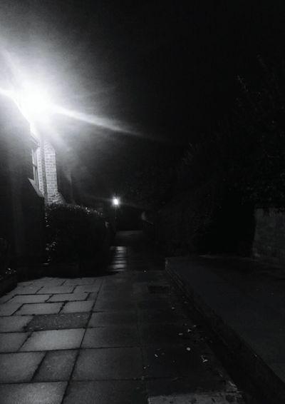 Night Illuminated Street Light The Way Forward Outdoors No People Church Shades Of Nature Darkness To Light Scary Night