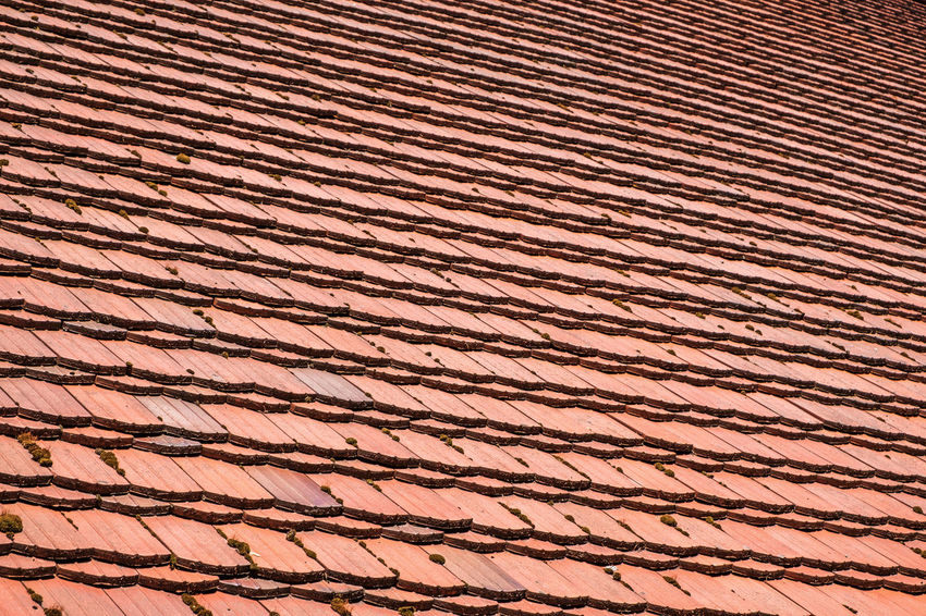 Red Architecture Arrangement Backgrounds Brown Built Structure Close-up Day Design Full Frame High Angle View In A Row Nature No People Old Order Outdoors Parallel Pattern Repetition Roof Roof Tile Side By Side Sunlight Textured