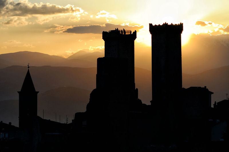 Abruzzo Abruzzo - Italy Ancient Architecture Built Structure Church Cloud - Sky Dark History Nature No People Orange Color Outdoors Pacentro Pacentro Photo Italy Park Scenics Sky Small Town Sunset Tourism Towers Tranquility Travel Destinations Village