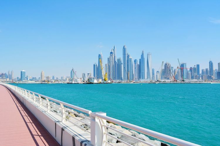 United Arab Emirates Dubai VAE Nature Beauty In Nature Panoramic Photography Panorama City Cityscape Urban Skyline Harbor Skyscraper Modern Sea Water Business Nautical Vessel Office Building Urban Sprawl Financial District  Office Building Exterior Tall - High Pier Tower District