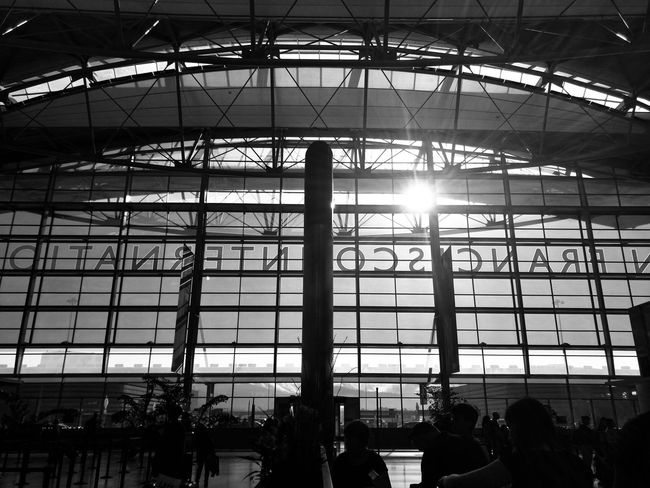 San Francisco Sfo Indoors  Built Structure Low Angle View Travel Ceiling Architecture Airport Silhouette